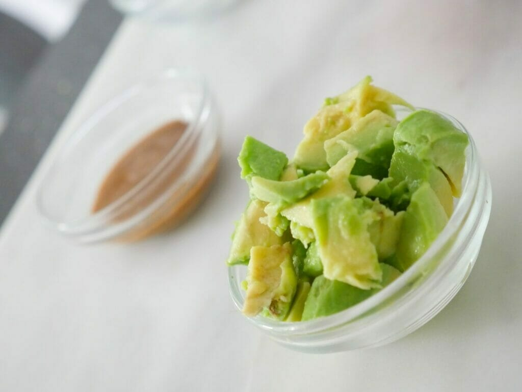 Avocado and almond butter for a coconut milk smoothie recipe with strawberries