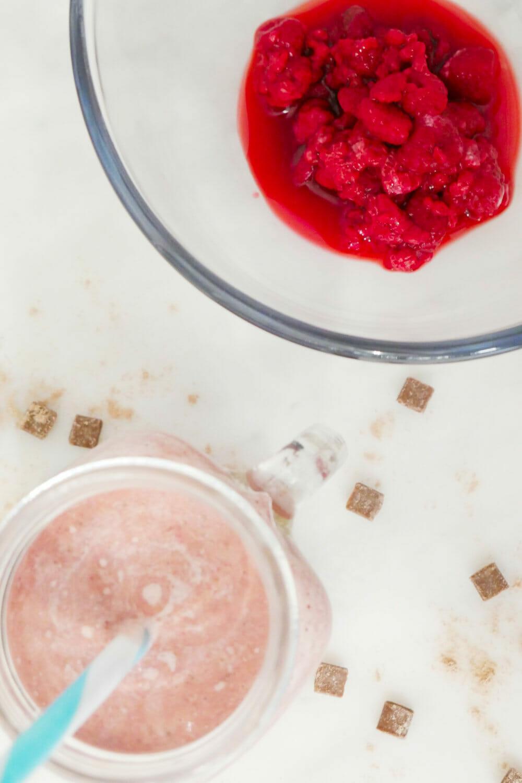 Best tasting chocolate raspberry protein shake recipe via @thesmoothiesite
