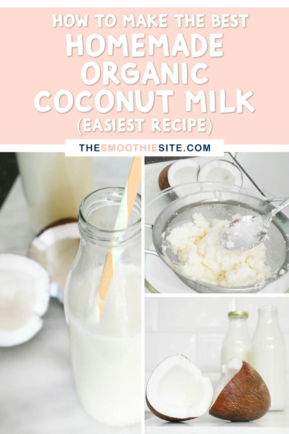 How to make the best homemade organic coconut milk (easiest recipe) via @thesmoothiesite