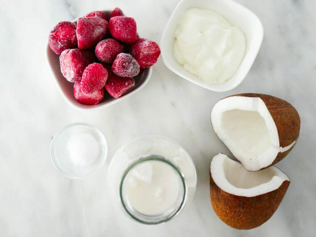 Strawberry coconut milkshake recipe ingredients