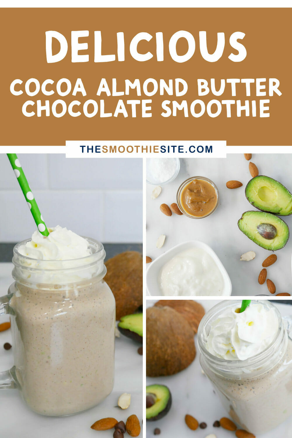 Cocoa almond butter chocolate smoothie (+ Fat Bomb Secret Ingredients!) via @thesmoothiesite